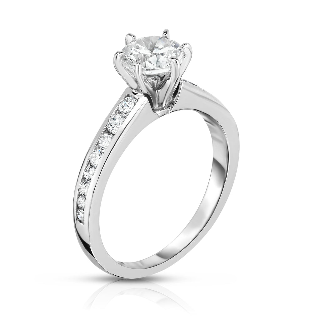 GIA Certified 14K White Gold Diamond (1.30 Ct, G Color, SI2 Clarity) 6-Prong Solitaire Ring