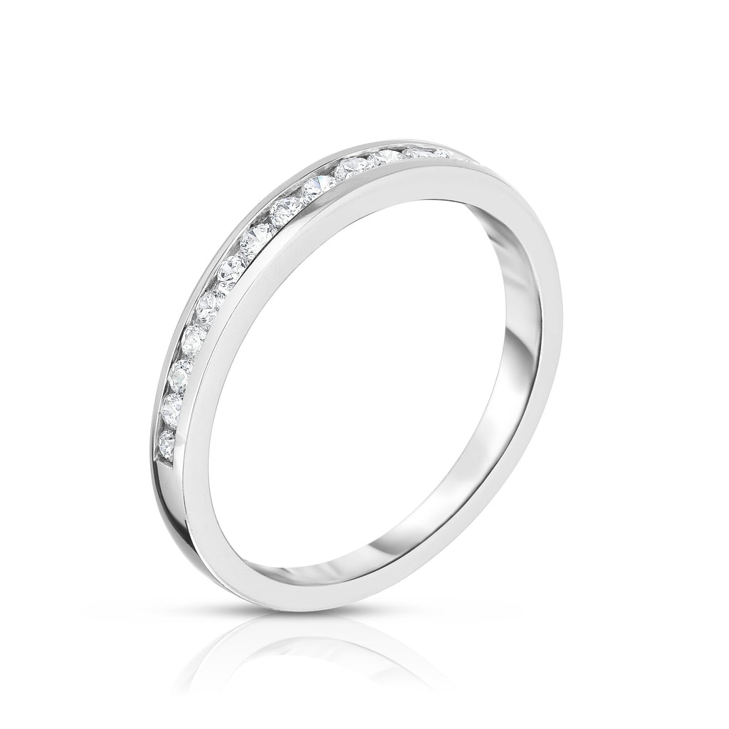 14K White Gold Diamond (0.30 Ct, SI2-I1 Clarity, G-H Color) Channel Wedding Band