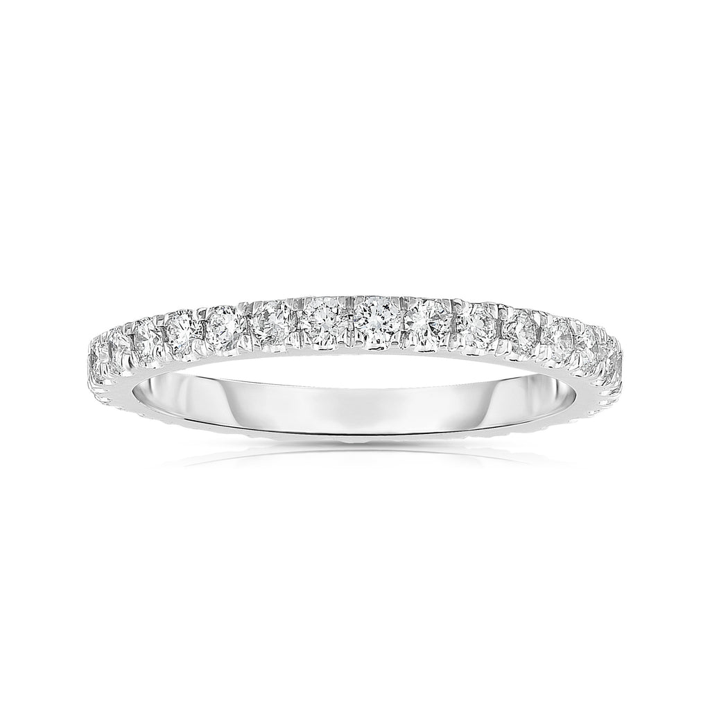 14K White Gold Diamond (0.50 Ct, G-H Color, SI2-I1 Clarity) Eternity Wedding Band