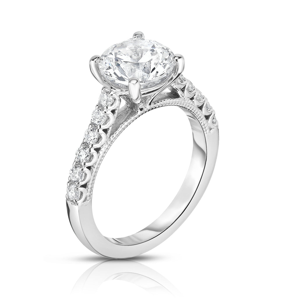 GIA Certified 14K White Gold Diamond (1.85 Ct, G Color, SI2 Clarity) Solitaire Ring