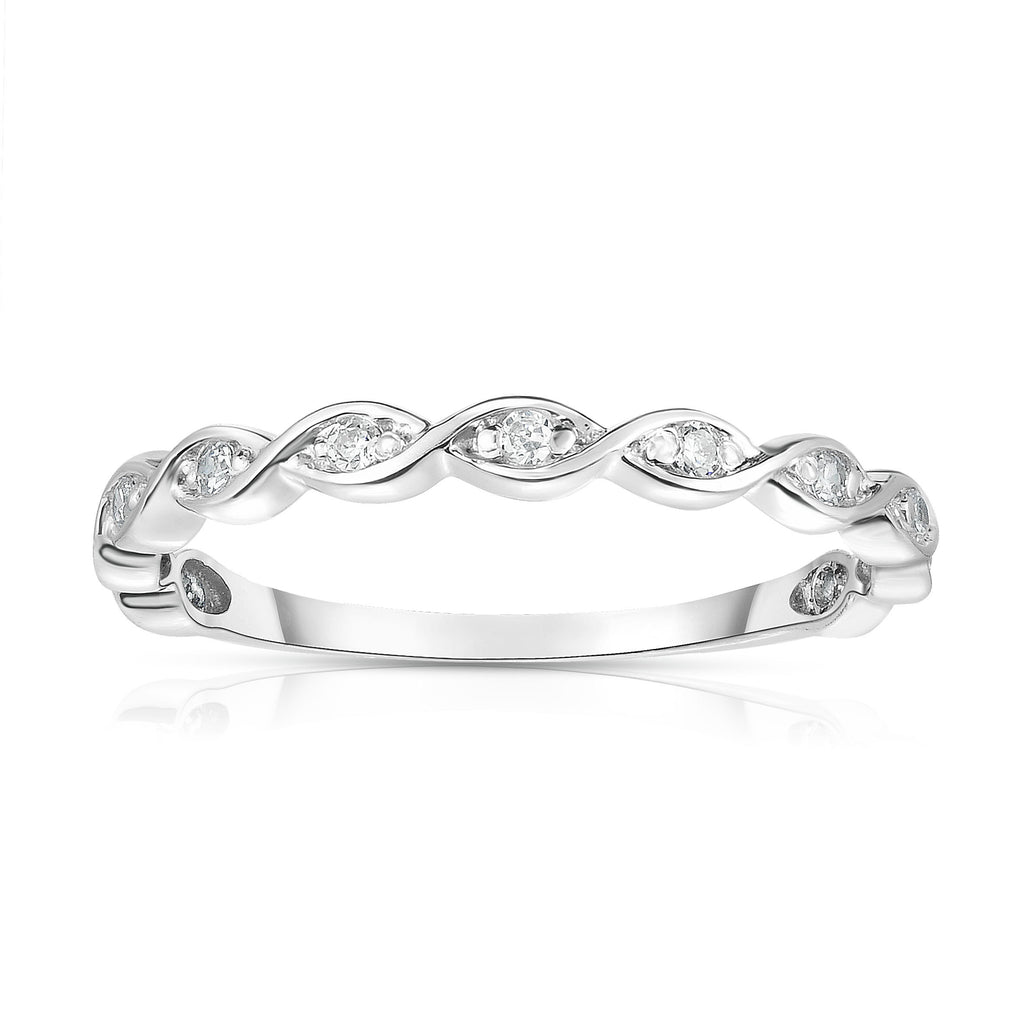 14K White Gold Diamond (0.07 Ct, G-H Color, SI2-I1 Clarity) Braided Stackable Ring