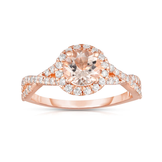 14K White Gold Morganite & Diamond (0.45 Ct, G-H Color, SI2-I1 Clarity) Engagement Ring