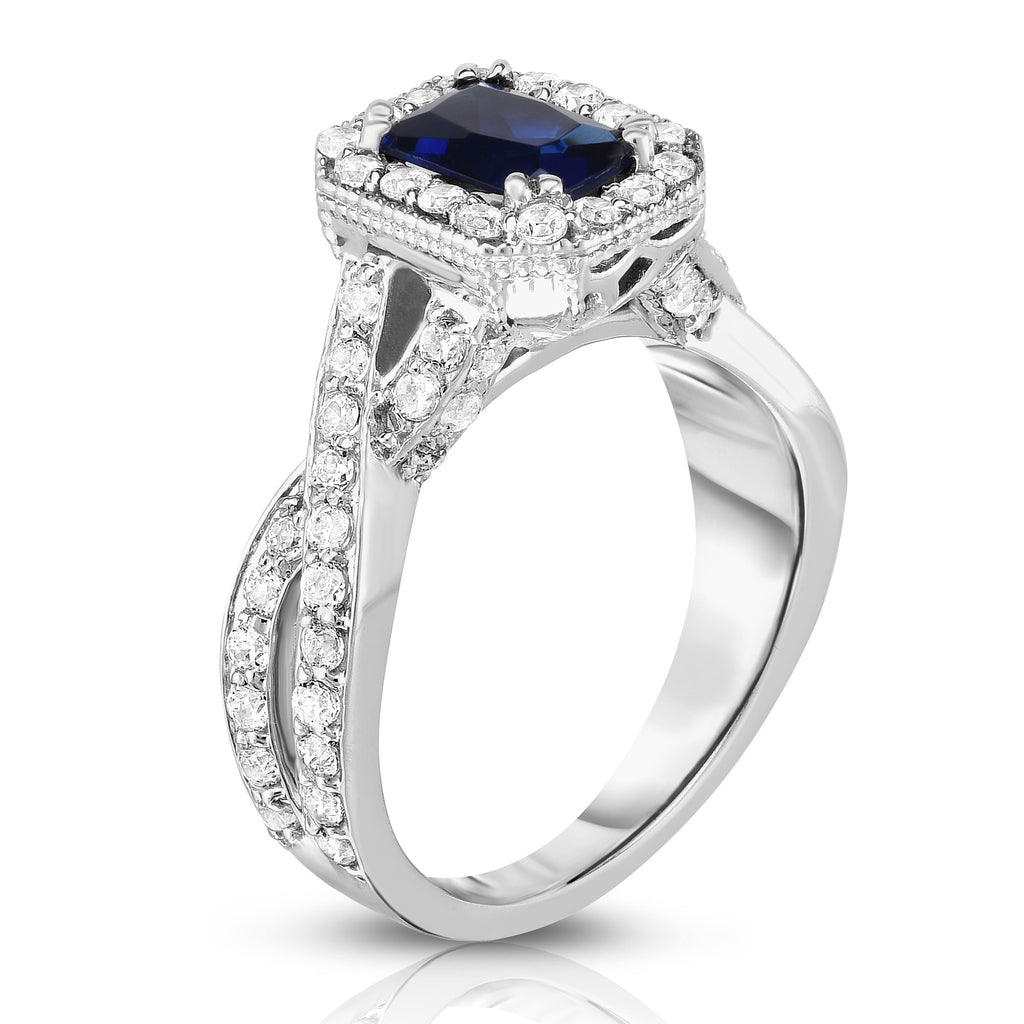 14K White Gold Blue Sapphire & Diamond (0.85 Ct, G-H Color, I1-I2 Clarity) Braided Ring