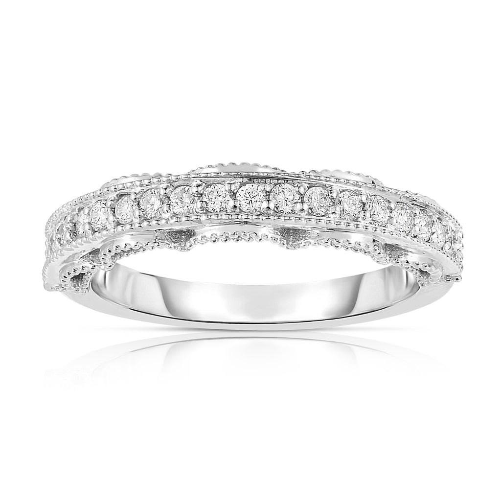 14K White Gold Diamond (0.25 Ct, G-H Color, SI2-I1 Clarity) Miligrain Ring