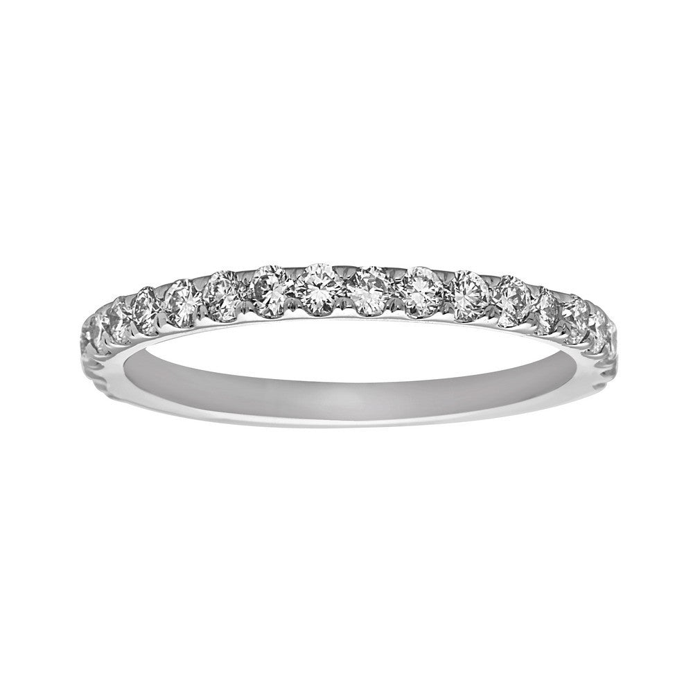 14K White Gold Diamond (0.60 Ct, G-H Color, SI2-I1 Clarity) Wedding Band