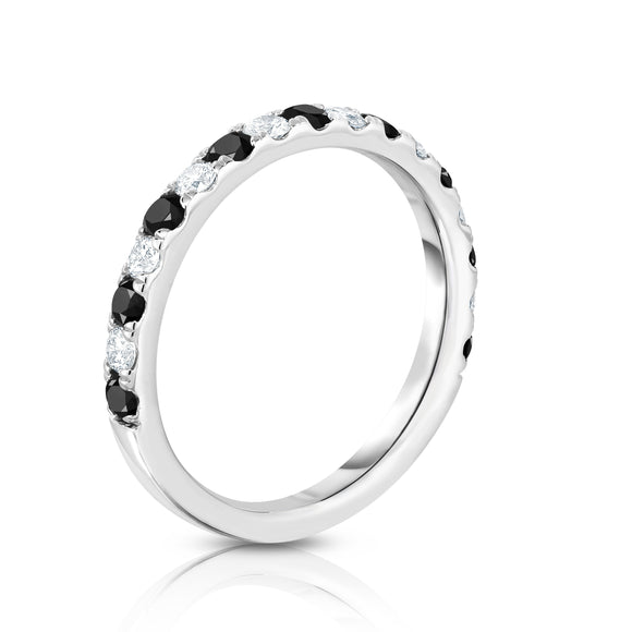 14K White Gold Black (0.50 Ct) & White Diamond (0.30 Ct, H-I Color, SI2-I1 Clarity) Ring
