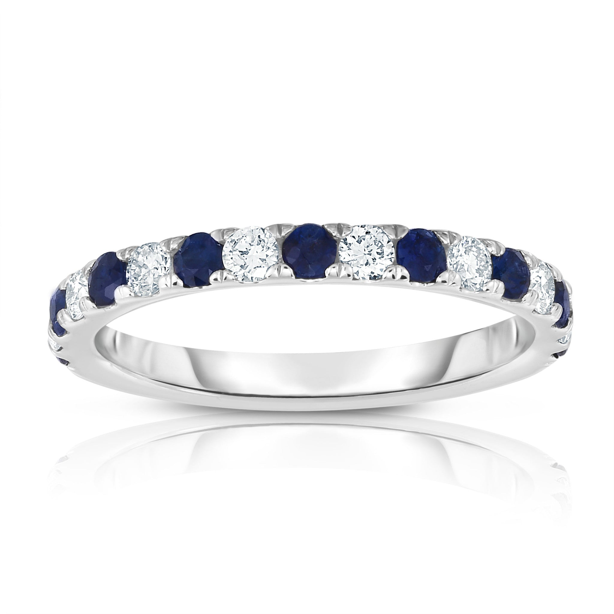 Jewelry & Watches Oval Blue Sapphire Round Diamond Solitaire Ring I1 H 0.30ct Prong Set Solid Gold