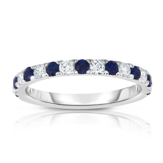 14K White Gold Blue Sapphire & Diamond (0.30 Ct, H-I Color, I1-I2 Clarity) Ring
