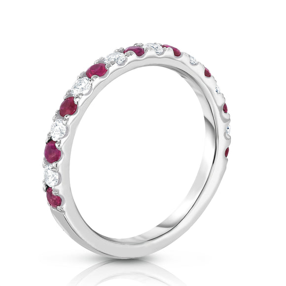 14K White Gold Ruby & Diamond (0.30 Ct, H-I Color, I1-I2 Clarity) Ring
