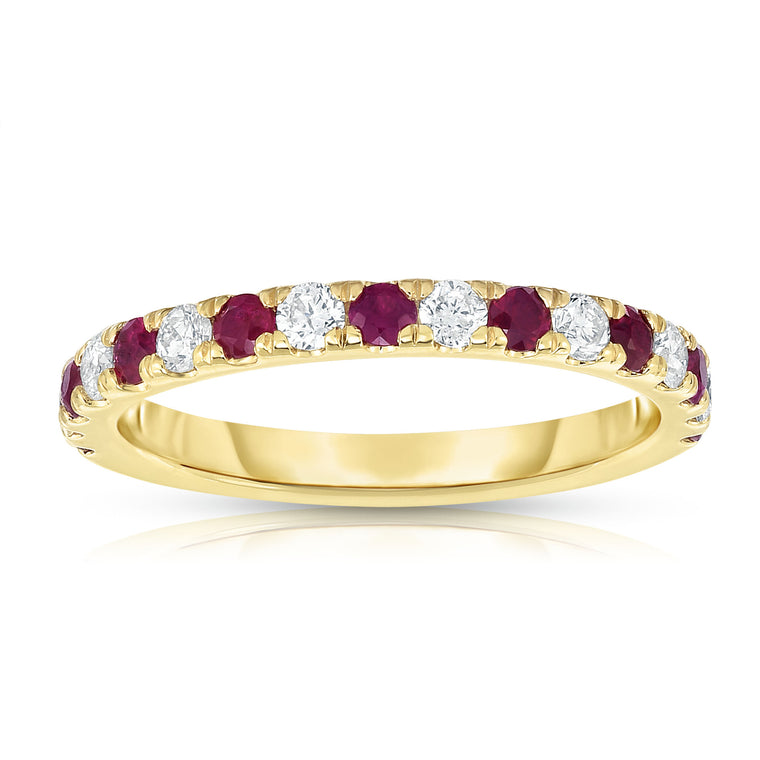 14K Yellow Gold Ruby & Diamond (0.30 Ct, H-I Color, I1-I2 Clarity) Ring