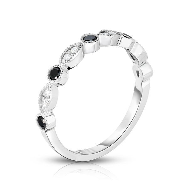 14K White Gold Black & White Diamond (0.30 Ct, G-H Color, SI2-I1 Clarity) Stackable Milligrain Ring