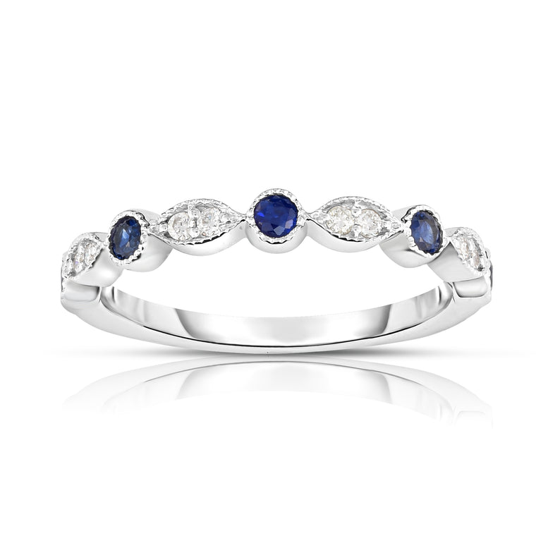 14K White Gold Blue Sapphire & Diamond (0.08 Ct, G-H Color, SI2-I1 Clarity) Stackable Milligrain Ring