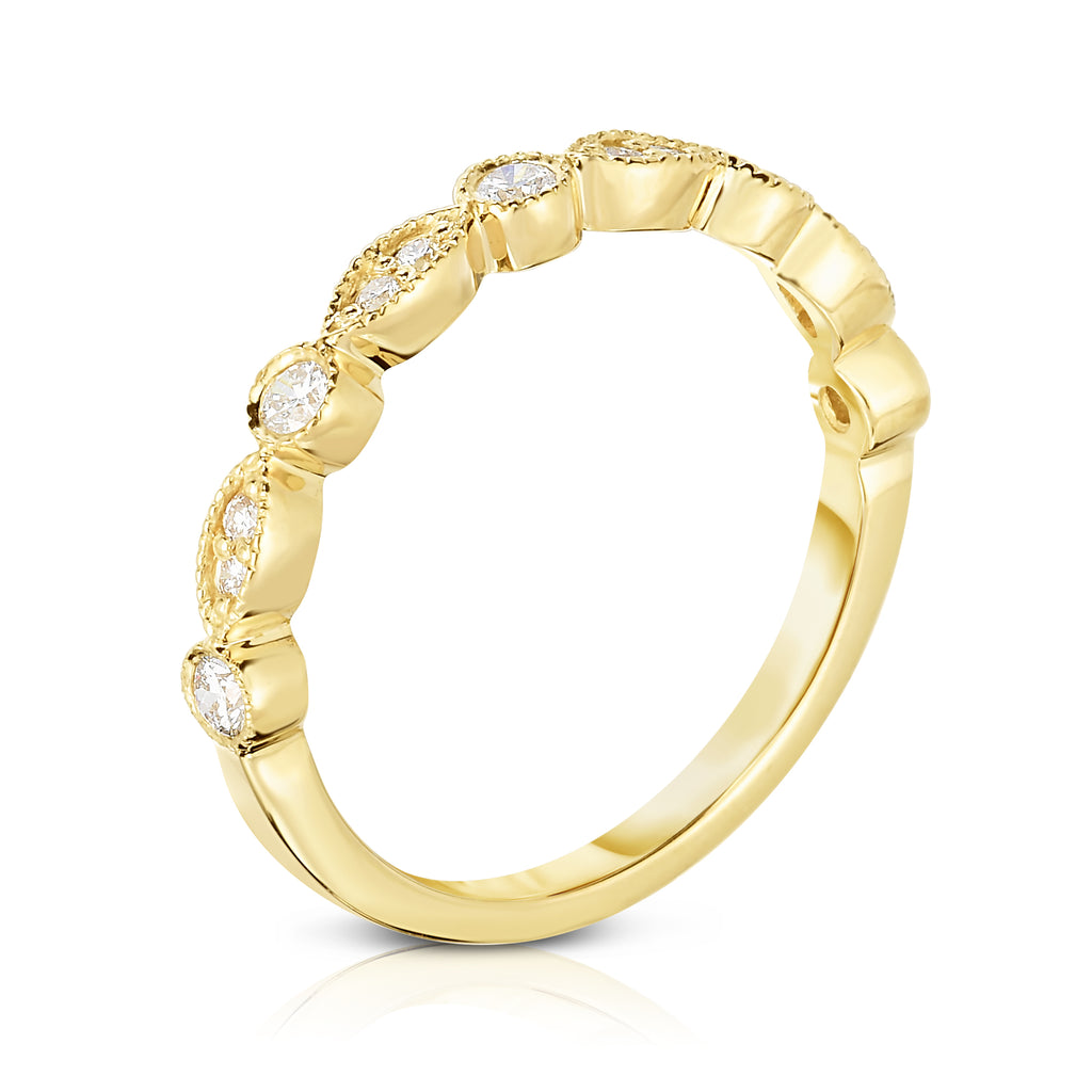 14K Gold Diamond (1/4 Ct, G-H Color, SI2-I1 Clarity) Stackable Milligrain Ring