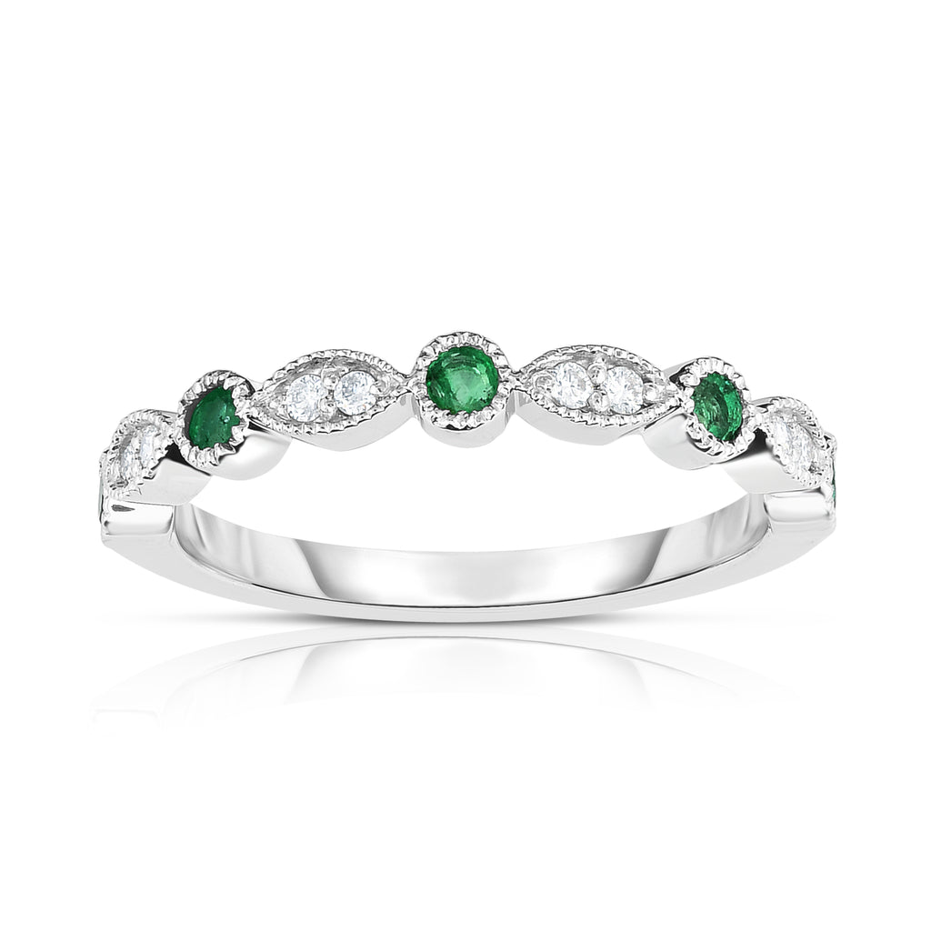 14K White Gold Emerald & Diamond (0.08 Ct, G-H Color, SI2-I1 Clarity) Stackable Milligrain Ring