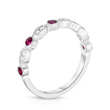 14K White Gold Ruby & Diamond (0.08 Ct, G-H Color, SI2-I1 Clarity) Stackable Milligrain Ring