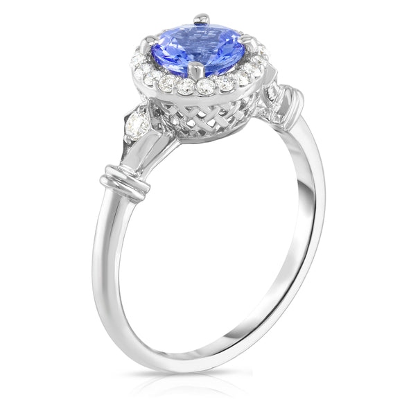 14K White Gold Tanzanite & Diamond (0.15 Ct, G-H Color, SI2-I1 Clarity) Ring