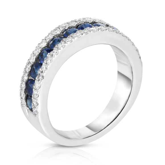14K White Gold Blue Sapphire & Diamond (0.44 Ct, G-H Color, SI2-I1 Clarity) Ring
