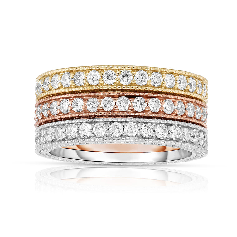14K White, Yellow & Rose Gold (1.20 Ct, G-H, SI2-I1 Clarity) Miligrain Stackable Ring Set
