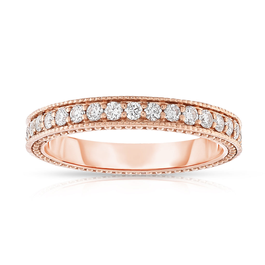 14K White, Yellow & Rose Gold (0.40 Ct, G-H, SI2-I1 Clarity)  Stackable Ring