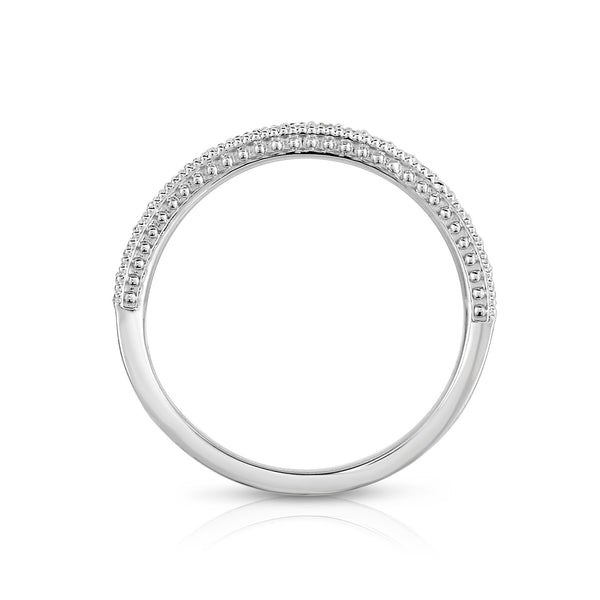 14K White Gold Diamond (0.22 Ct, G-H Color, SI2-I1 Clarity) Milligrain Wedding Band