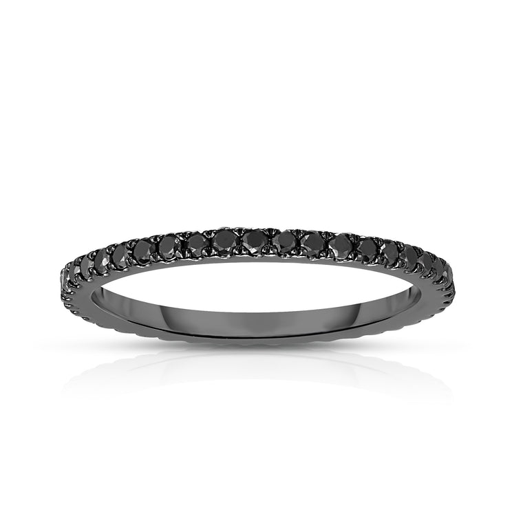 14K White Gold Black Diamond (0.45 Ct, Black Color, SI2-I1 Clarity) Eternity Wedding Band