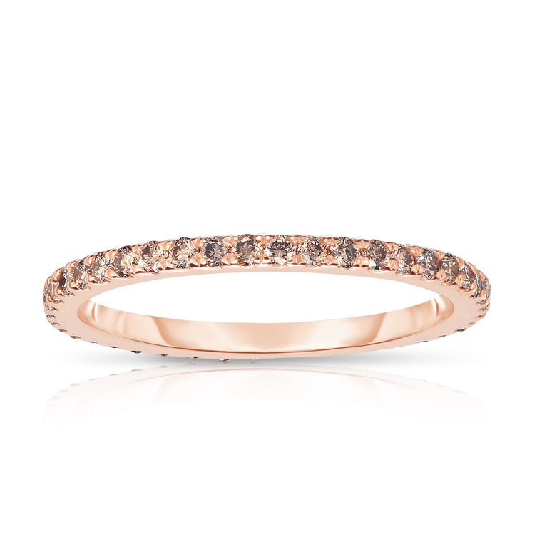14K Rose Gold Champagne Diamond (0.40 Ct, Brown Color, I1-I2Clarity) Eternity Wedding Band
