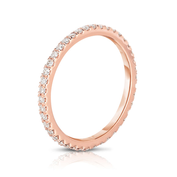14K Rose Gold Diamond (0.40 Ct, G-H Color, SI2-I1 Clarity) Eternity Wedding Band