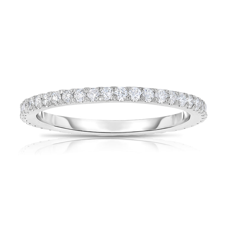 14K White Gold Diamond (0.40 Ct, G-H Color, SI2-I1 Clarity) Eternity Ring