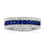 14K White Gold Blue Sapphire & Diamond (0.95 Ct, G-H Color, SI2-I1 Clarity) Ring