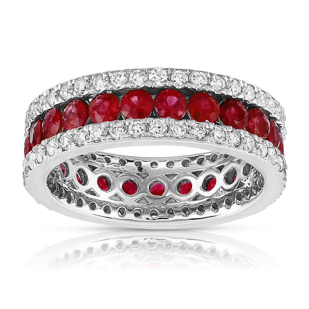 14K White Gold Ruby & Diamond (0.95 Ct, G-H Color, SI2-I1 Clarity) Ring