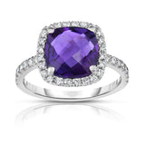 14K White Gold Cushion Amethyst & Diamond (0.45 Ct, G-H Color, SI2-I1 Clarity) Ring