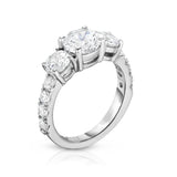 GIA Certified 14K White Gold Diamond (3.00 Ct, G Color, SI2 Clarity) 3-Stone Engagement Ring