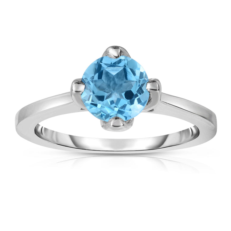Sterling Silver Gemstone 4-Prong Solitaire Ring (1.15 Ct)