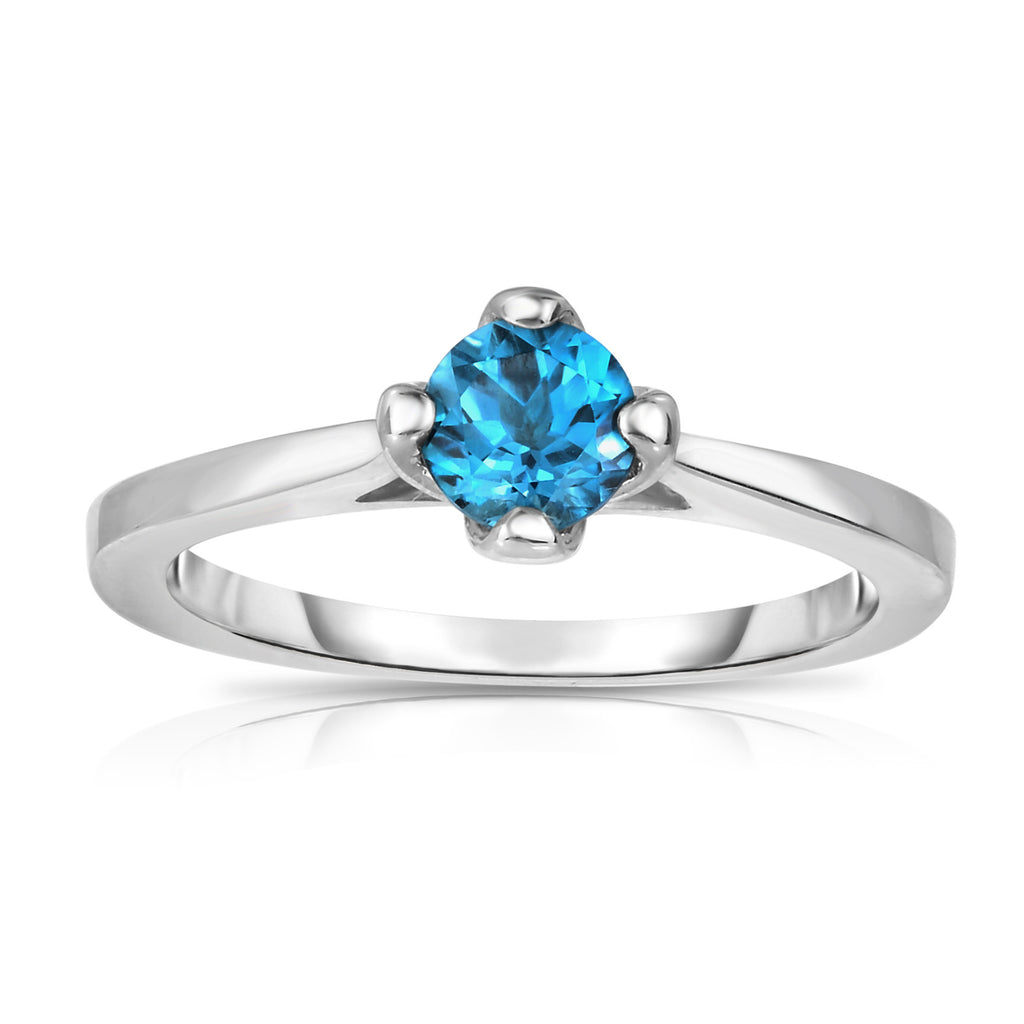 Sterling Silver Gemstone 4-Prong Solitaire Ring (0.50 Ct)