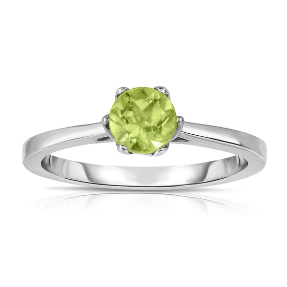 Sterling Silver Gemstone 6-Prong Solitaire Ring (0.60 Ct)