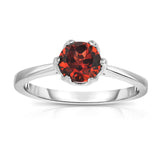 Sterling Silver Gemstone 6-Prong Solitaire Ring (1 Ct)