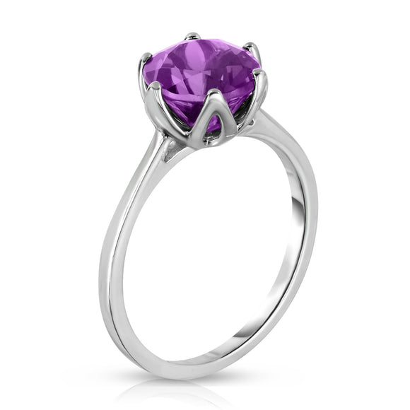 Sterling Silver Amethyst 6-Prong Solitaire Ring (2 Ct)