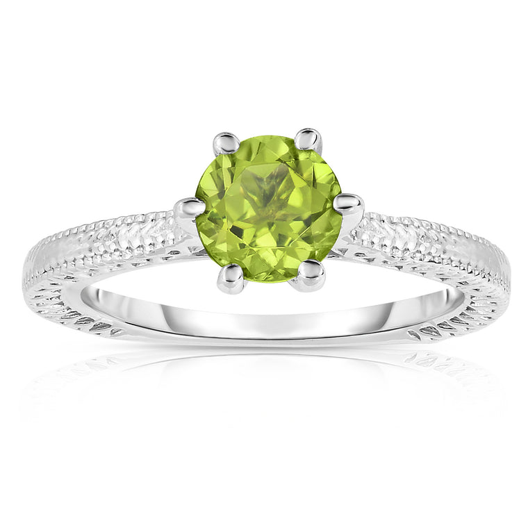 Sterling Silver Peridot 6-Prong Solitaire Ring (1 Ct)