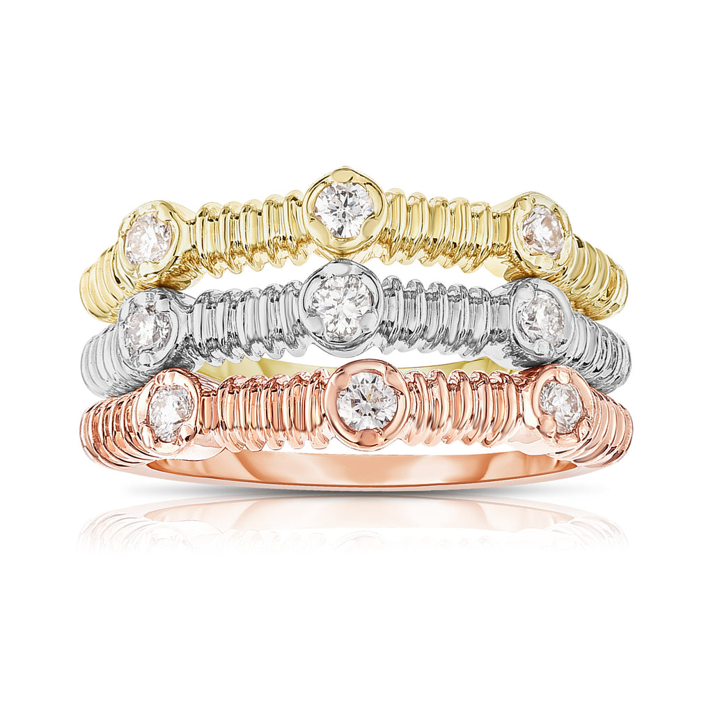 14K White, Yellow & Rose Gold (0.36 Ct, G-H, SI2-I1 Clarity) Stackable Ring Set
