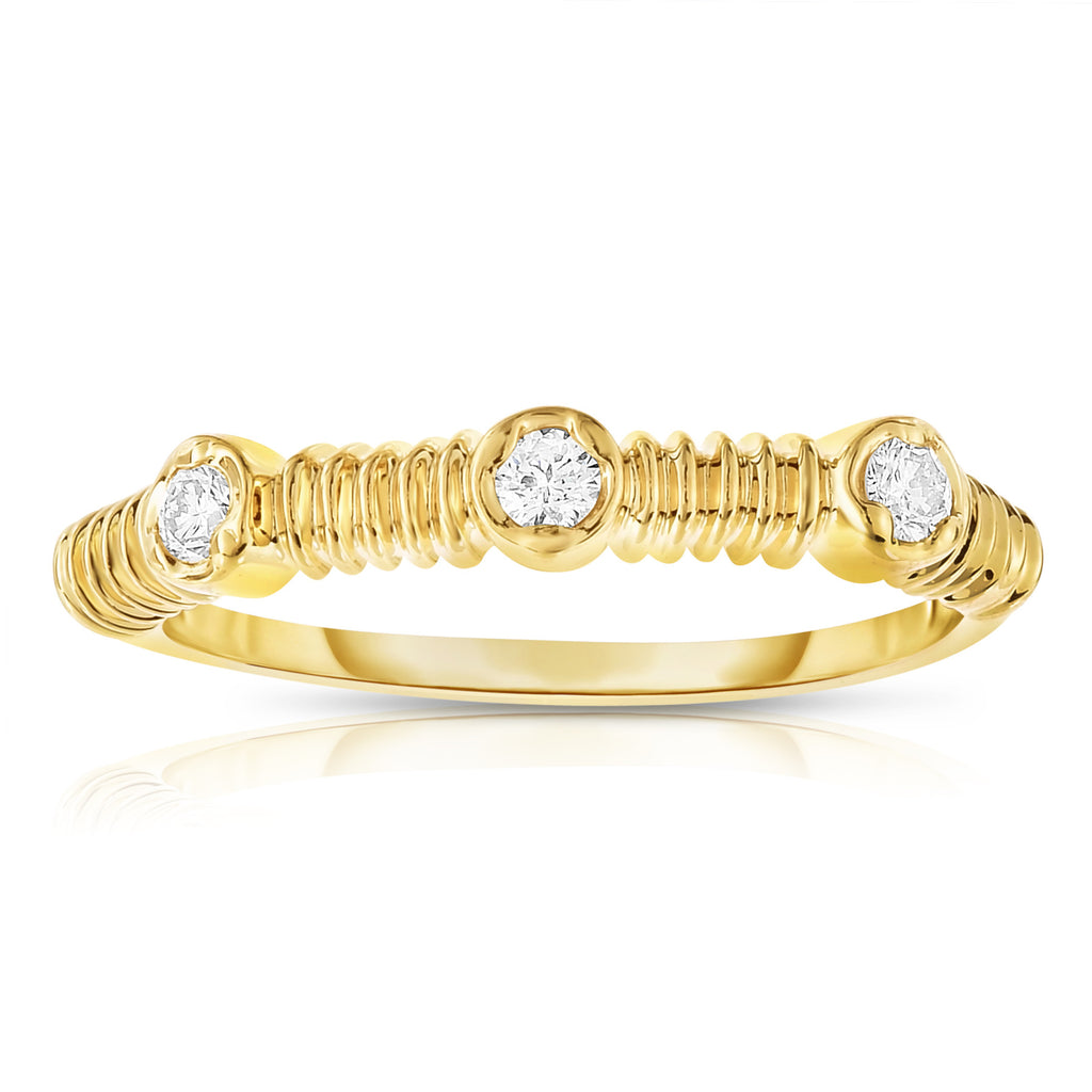 14K White, Yellow or Rose Gold (0.12 Ct, G-H, SI2-I1 Clarity) Stackable Ring