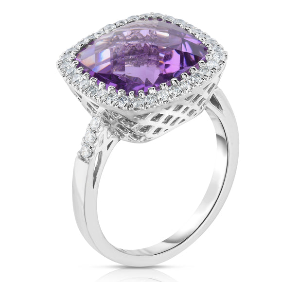 14k Gold Cushion Cut Gemstone and Diamond (0.45 Ct, G-H, SI2-I1) Cocktail Ring