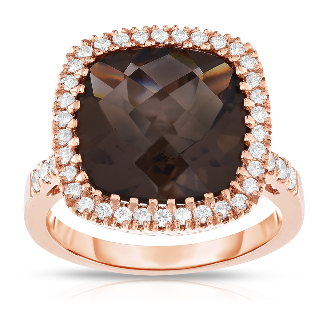 14k Rose Gold Smoky Topaz and Diamond (0.42 Ct, G-H, SI2-I1) Cocktail Ring