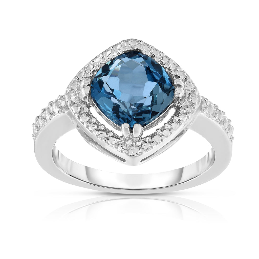 14K White Gold Cushion Cut London Blue Topaz (8 MM) Cocktail Ring