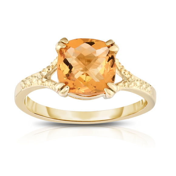 14K White or Yellow Gold Checkerboard Cut Citrine (8 MM) Ring