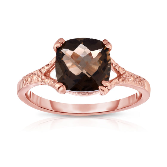 14K Rose Gold Checkerboard Cut Smoky Topaz (8 MM) Ring