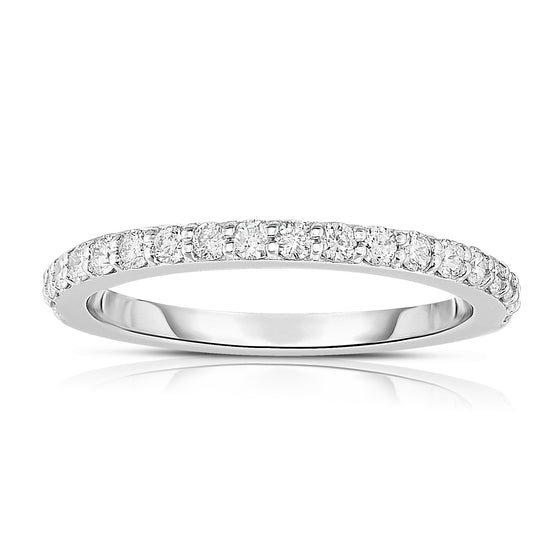 14K White Gold Diamond (0.40 Ct, G-H Color, SI2-I1 Clarity) Wedding Band