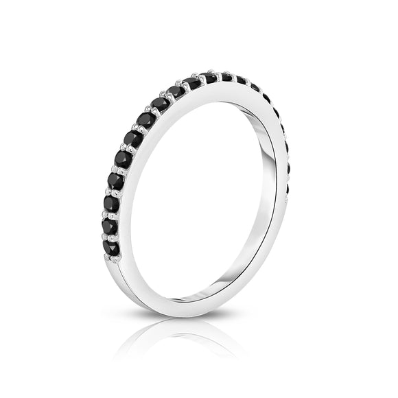14K White Gold Black Diamond Wedding Band (0.40 cttw)