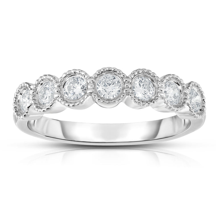 14K Gold 7-Stone Diamond (0.45 Ct, I1-I2 Clarity, G-H Color) Milligrain Ring