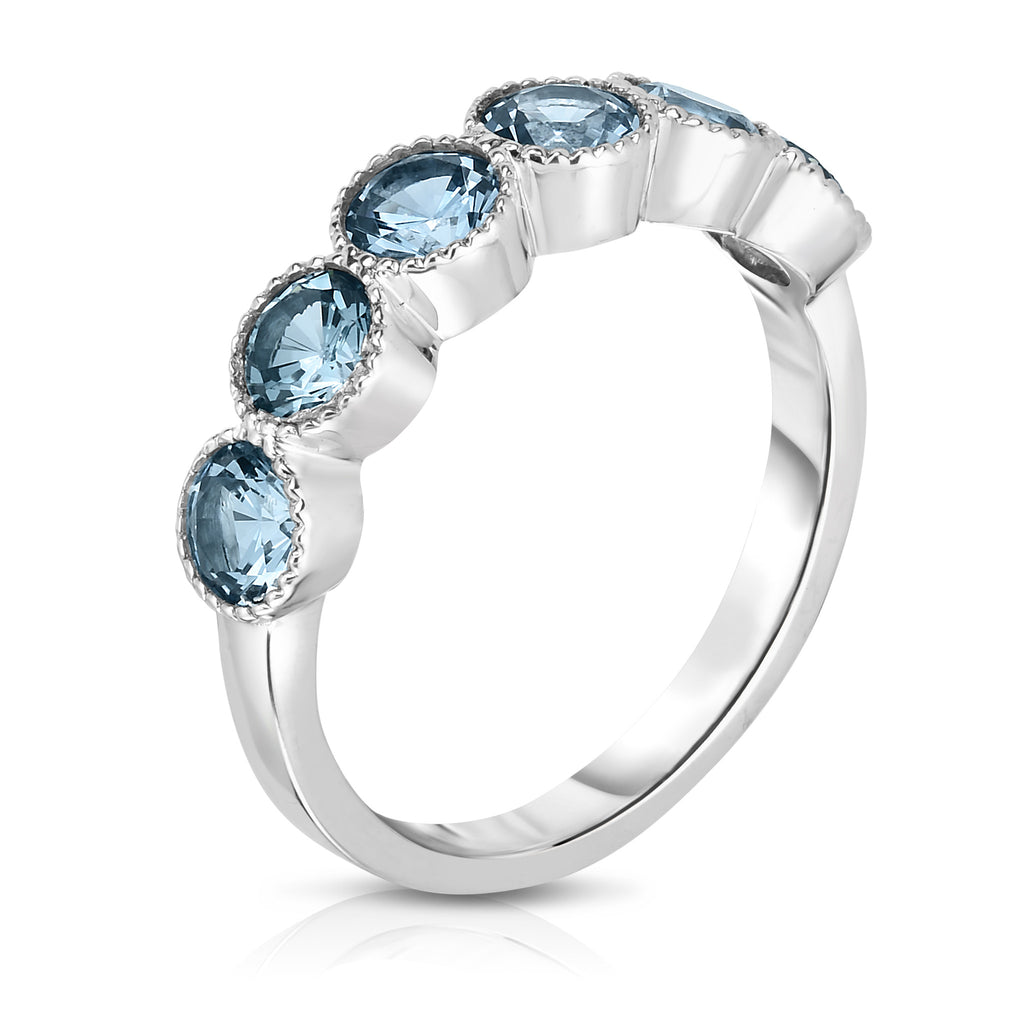 14K White Gold 6-Stone Bezel Set Gemstone (4.5MM, Round Cut) Ring
