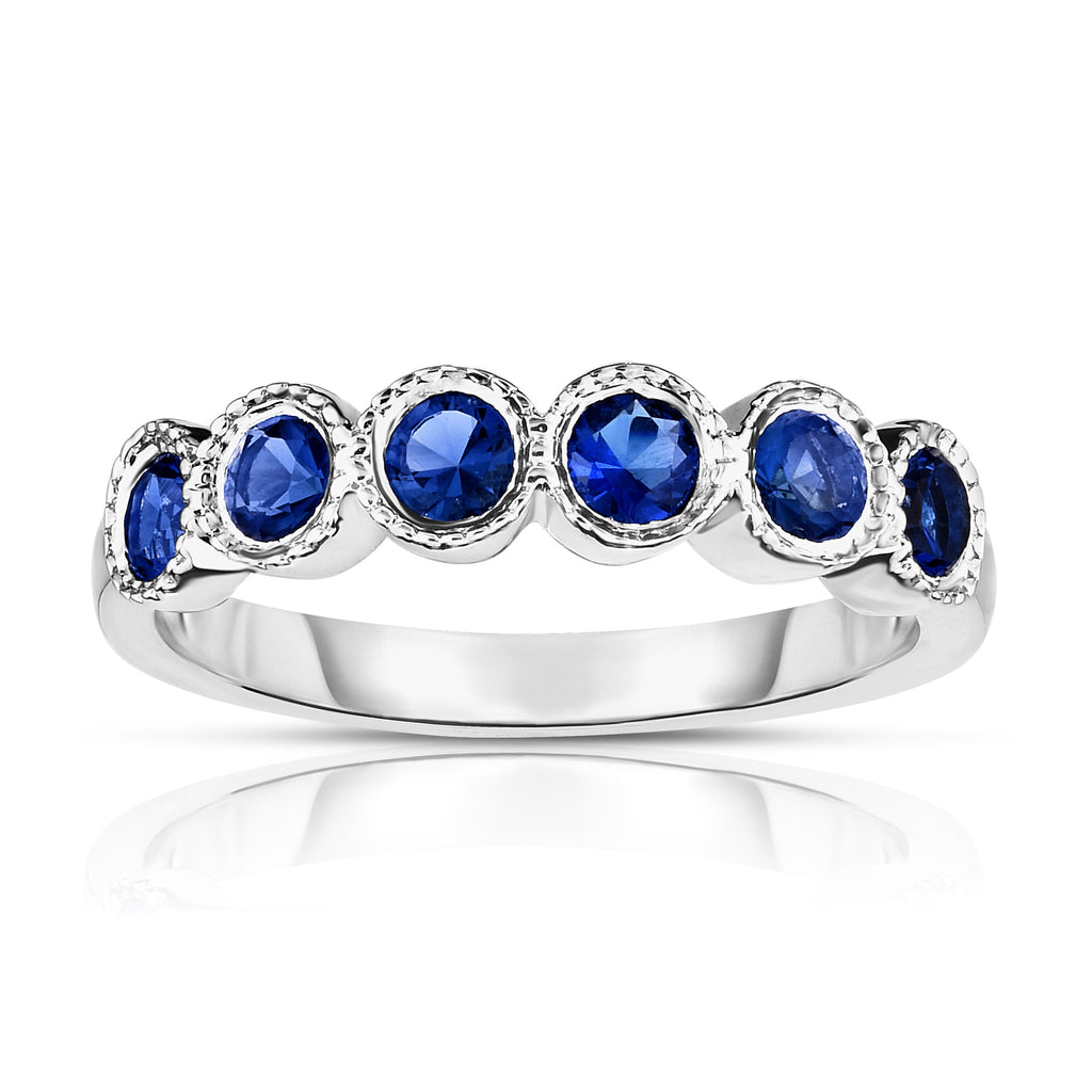 14K White Gold 6-Stone Bezel Set Blue Sapphire (3MM, Round Cut) Ring